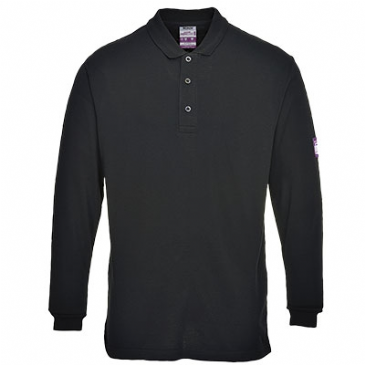 FR10 - FLAME-RESISTANT ANTI-STATIC LONG SLEEVE POLO SHIRT BLACK